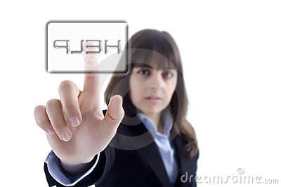 Trycka på för affärskvinnaknapphjälp