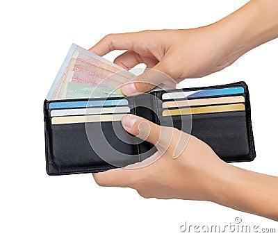 Trzymać i wziąć pieniądze z kieszeni odizolowywającej nad bielem