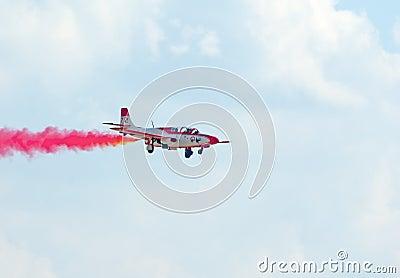 TS-11 Iskra jet from Bialo-Czerwone Iskry team Editorial Stock Image