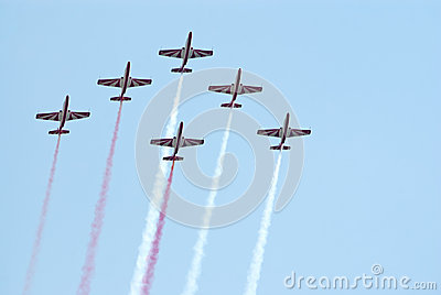 TS-11 jets from Bialo-Czerwone Iskry team Editorial Stock Image