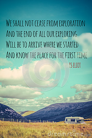 Free TS Eliot Travel Quote Poster Royalty Free Stock Image - 48133356