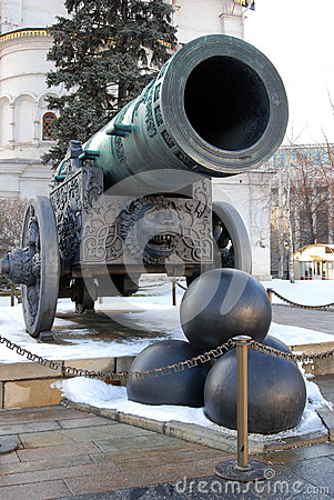 Free Tsar Cannon (King Cannon) In Moscow Kremlin In Winter. Stock Images - 67332554