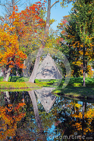 Free Tsarskoe Selo Pushkin, Russia. Pavilion Of The Pyramid In Catherine`s Park In Autumn Royalty Free Stock Image - 98002606