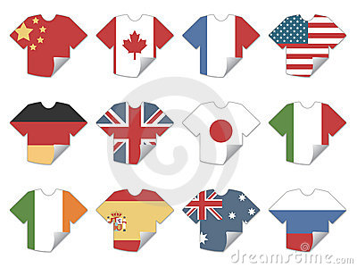 Tshirt flag stickers