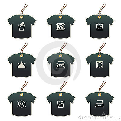 Tshirt tags with fabric care motifs