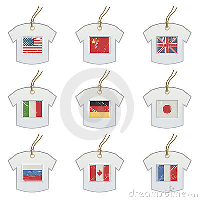 Tshirt tags with flags