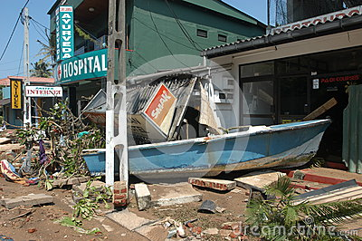 Tsunami of 26 december 2004 at Hikkaduwa Editorial Stock Image