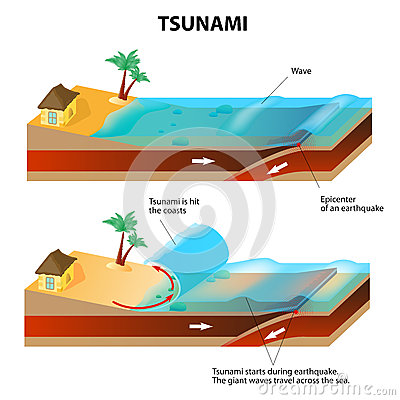 Free Tsunami And Earthquake. Vector Illustration Stock Photo - 36125580