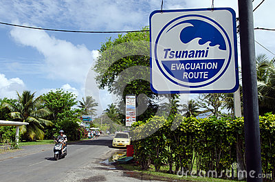 Tsunami evacuation route in Rarotonga Cook Islands Editorial Image
