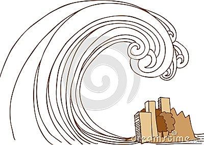 Tsunami Tidal Wave On City Stock Photography - Image: 9383002