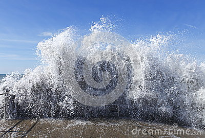 Wave of water tsunami