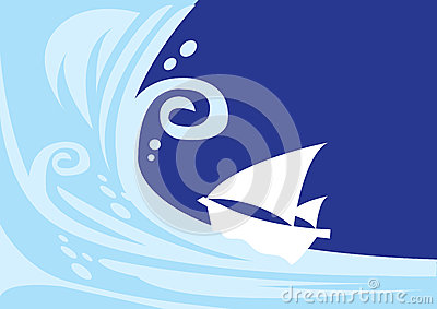 Tsunami wave with sailing boat