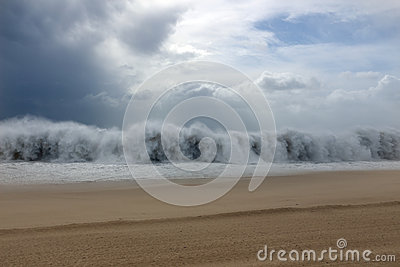 Tsunami wave during a storm