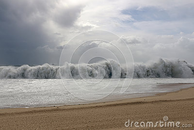 Tsunami wave during a storm