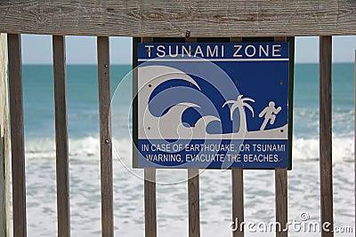 Tsunami Zone Sign