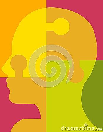 Tête 2 de puzzle de psychologie