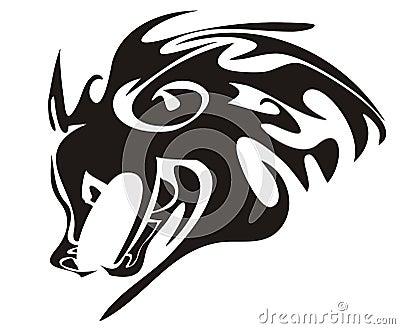 Tête de loup. Animal tribal