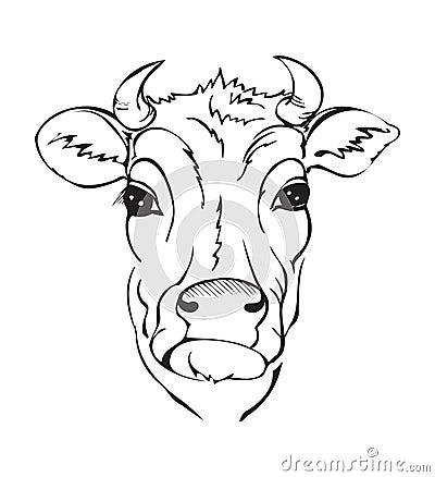 t te noire et blanche stylis e de vache illustration de vecteur image 67217872. Black Bedroom Furniture Sets. Home Design Ideas