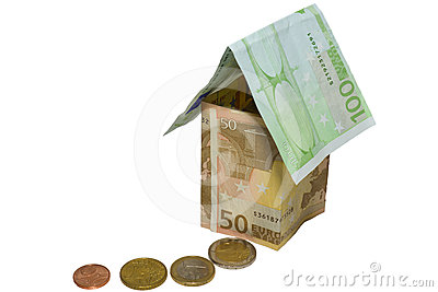 Tthe house from euro and coins