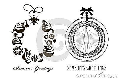 Ttwo Christmas Black - white  wreaths