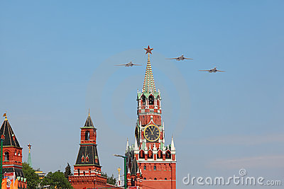 Tu-160 airplanes fly over Red Square Editorial Photo