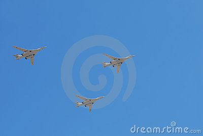 Tu-160 planes on parade Editorial Stock Image