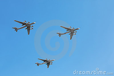 Tu-95ms planes on parade Editorial Image