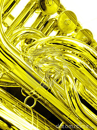 Tuba close up in gold
