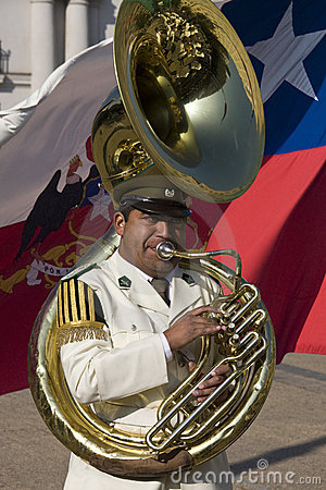Tuba player in Presidential Band - Chile Editorial Stock Photo