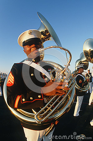 Tuba player for the United States Marine Corp Editorial Stock Image
