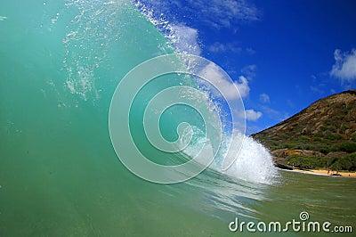 Tubing Surfing Waves at Sandy Beach Hawaii