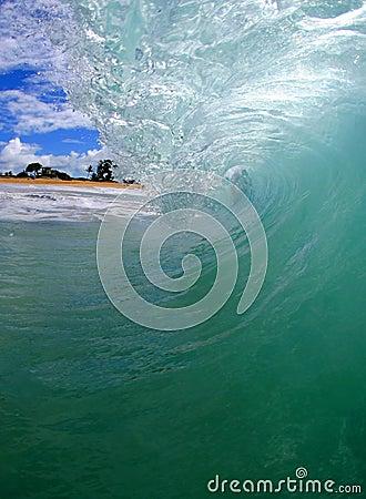 Tubing Wave on the Beach in Hawaii