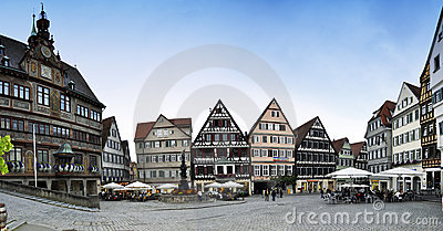 Tubingen Markt Platz - panorama Editorial Photography