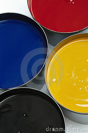 Free Tubs Of Process Printing Inks Stock Photography - 4092462