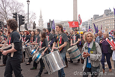 TUC protest march in London, UK Editorial Photography