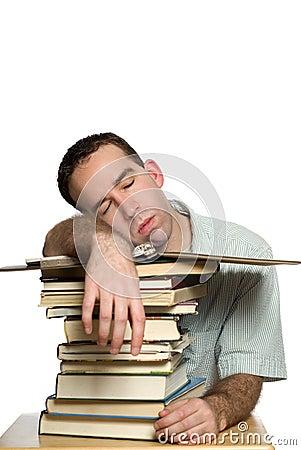 étudiant snoozing
