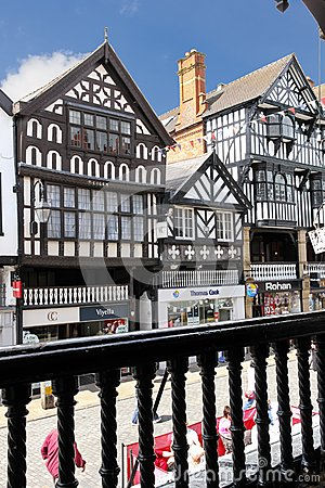 Tudor buildings in Bridge street. Chester. England Editorial Stock Photo