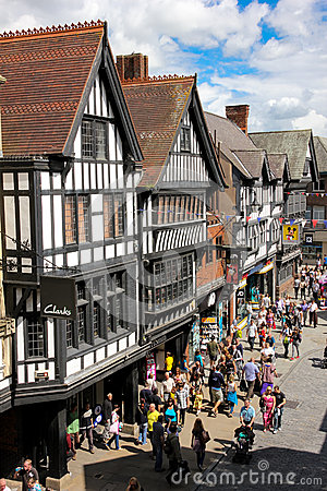 Tudor buildings in Eastgate street. Chester. England Editorial Photo