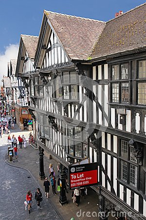 Tudor buildings in Eastgate street. Chester. England Editorial Image