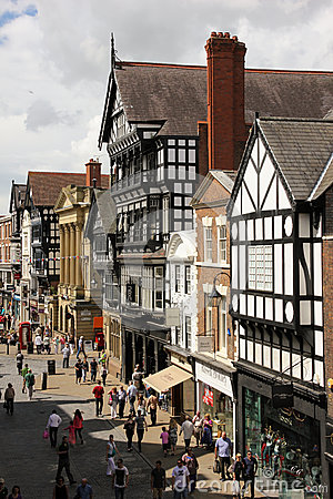 Tudor buildings in Eastgate street. Chester. England Editorial Photography