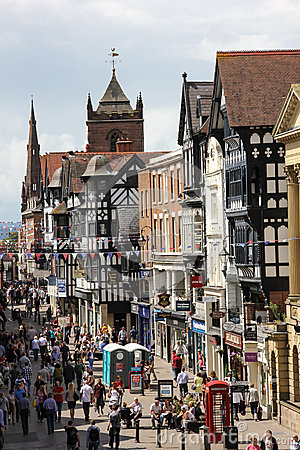 Tudor buildings. Eastgate street. Chester. England Editorial Image