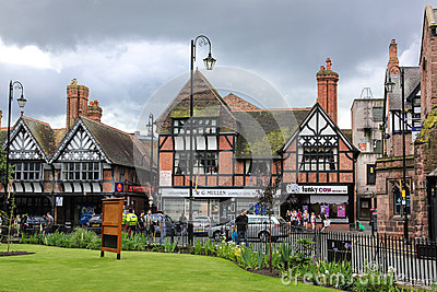 Tudor buildings in Werburgh street. Chester. England Editorial Stock Photo