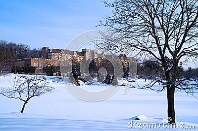 Tudor Manor in a Winter Morning
