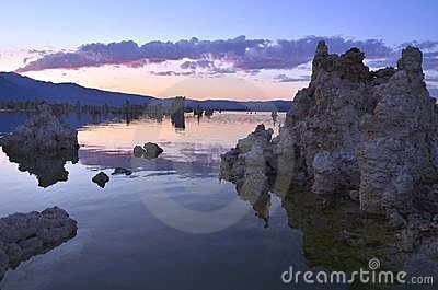 Tufa Formations at Mono Lake, California at Sunset