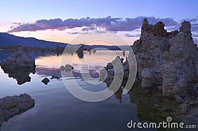 Tufa Formations at Mono Lake, California at Sunset