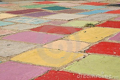 Tuft of grass in a field of colored tiles