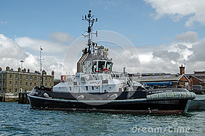 Tug Boat, estaleiro de Portsmouth Foto de Stock Editorial