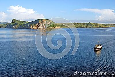 Tug boat near a scenic coastline