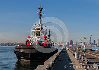 Tug Boat at Pier in Vancouver Editorial Stock Image