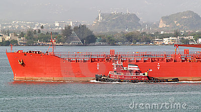 Tug and tanker
